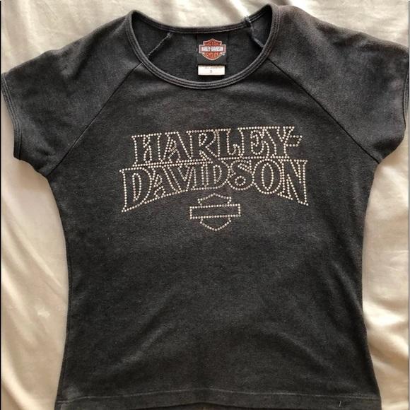 Harley-Davidson Tops - vintage Harley-Davidson rhinestone baby tee shirt